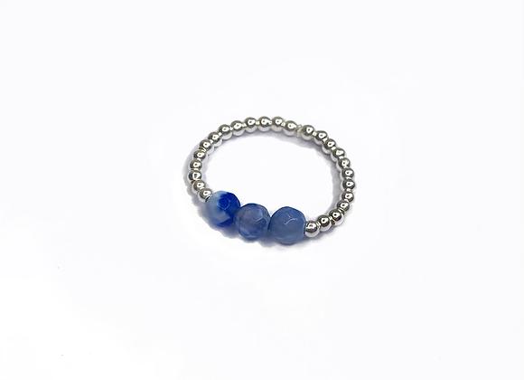 bague DRAGEE argent agate bleu
