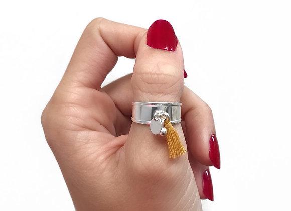 bague pompon ajustable tassel argent 925 sterling silver open ring moutarde personnalisable