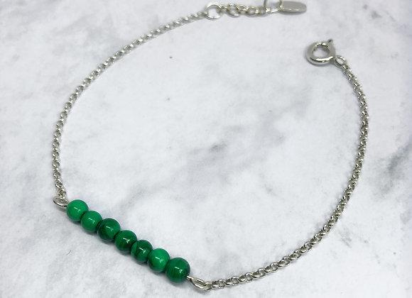 bracelet malachite pierre du changement en argent 925 intemporelle classique pour femme et adolescente vert