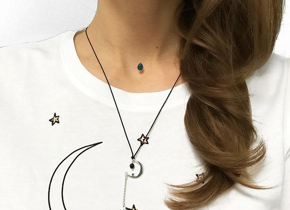 necklace moon sterling silver star semi precious gemstone black agate