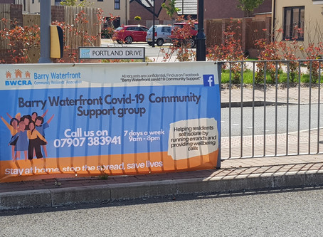 Banner signs with Covid-19 Support Group Details