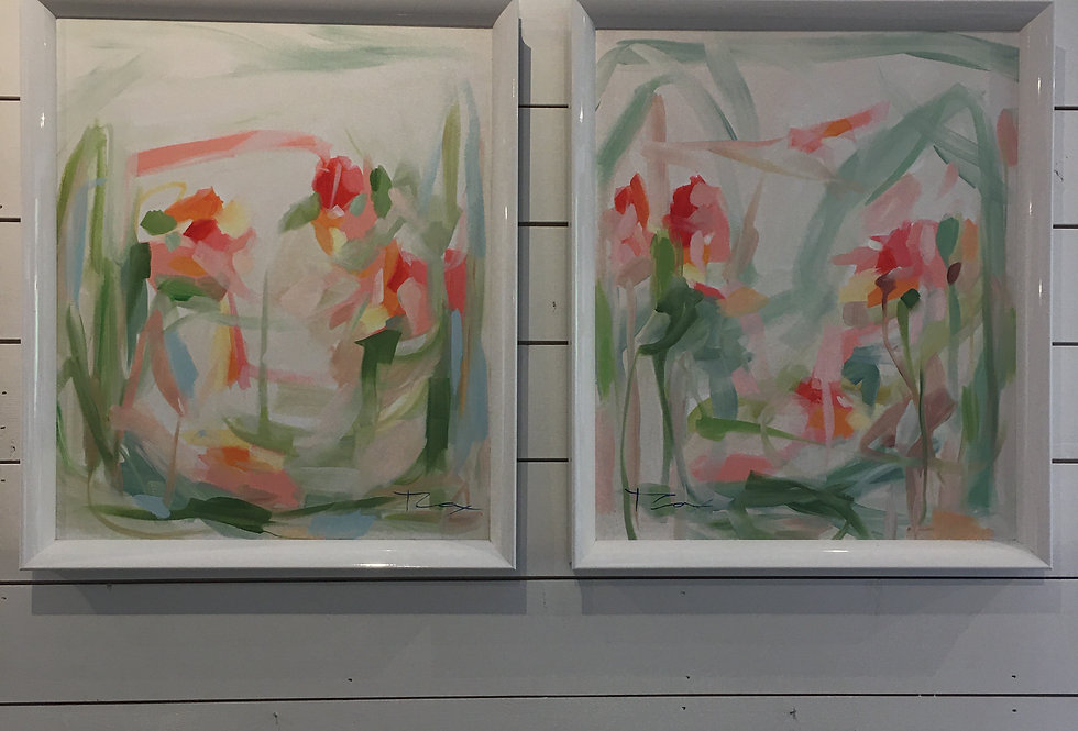 Original Abstract Oil in Gloss White Frame (pair)