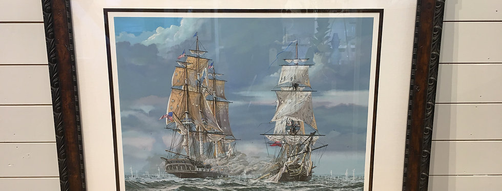 Pete Peterson Way Ships in Burl Wood Frame (signed)