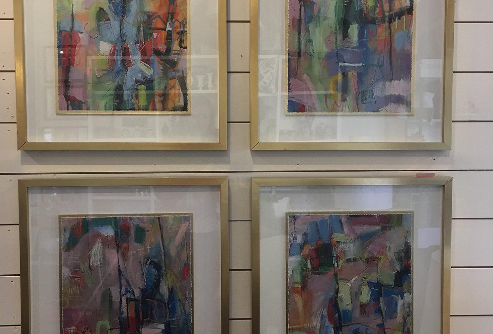 John Richards Prints in Gold Frames (set of 4)