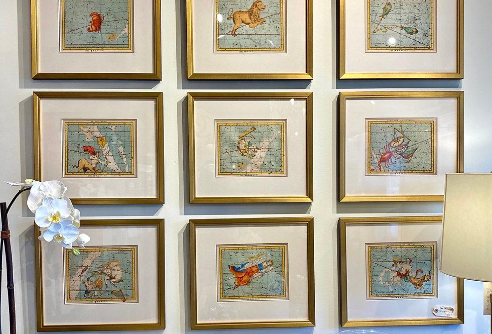 Set of Antique Astrological Charts