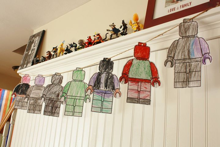 Very proud of his minifigures he colored way back in january in preparation for his party