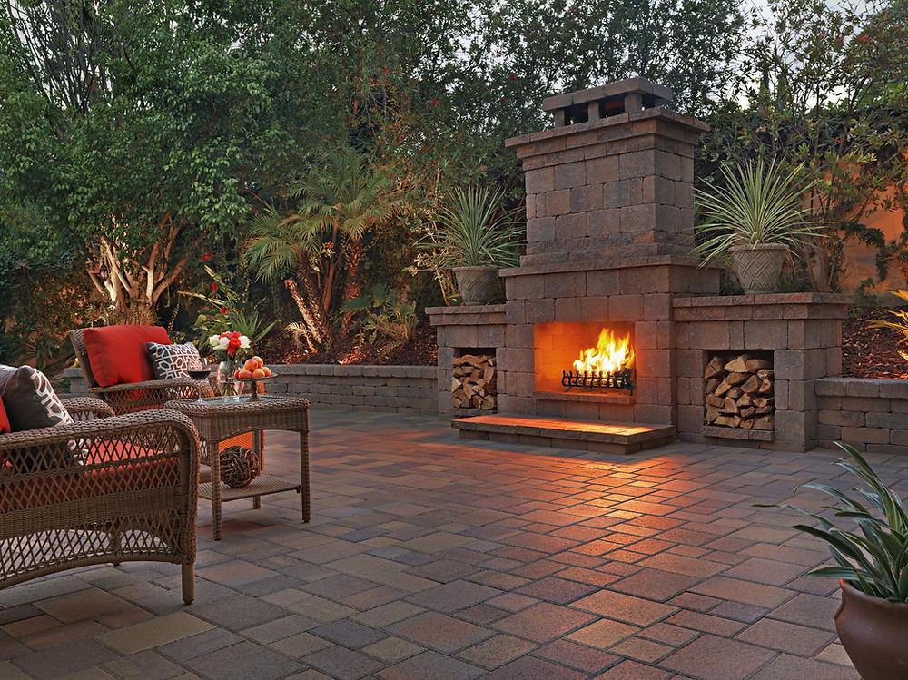 Nice cozy fireplace, unilock or custom made