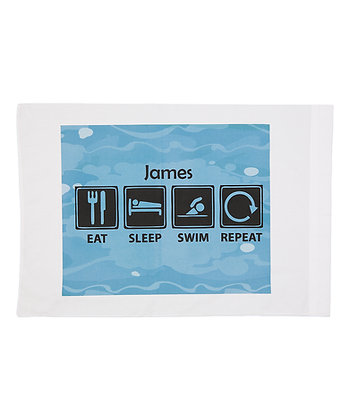 Eat Sleep Swim Repeat w/Custom Name Standard Pillowcase