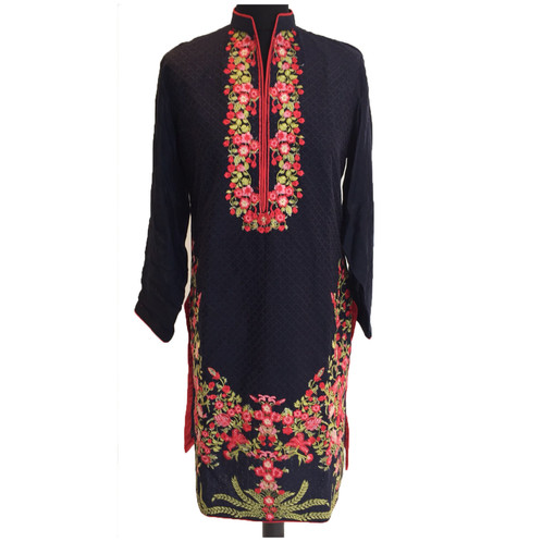 Navy Kurta With Embroidery Online Pakistani Clothes Shopping Uk
