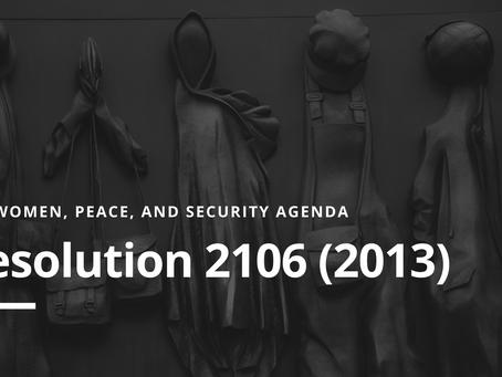 WPS Agenda: Resolution 2106(2013)