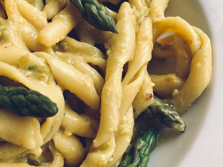 Busiate with Asparagus, Pistachio and Lemon Pesto