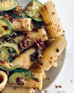 Rigatoni with Courgettes Olives and Sage