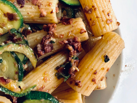 Rigatoni with Courgettes, Olives and Sage