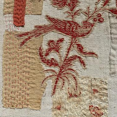 Red toile bird- detail