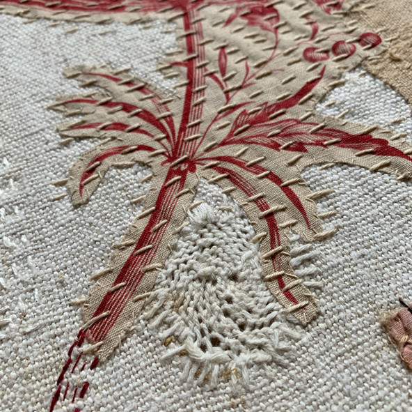 Red toile birds- detail