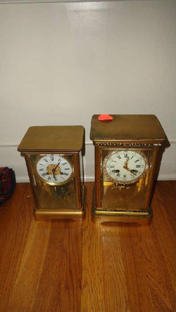 19 th century french carriage clocks, one with great enamel deocoration clock