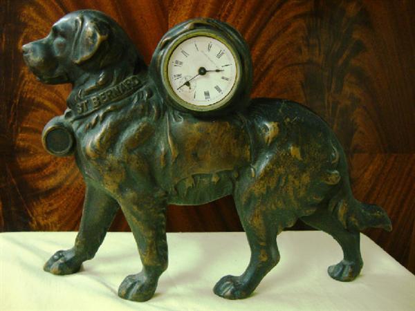 Bronze St. Bernard clock