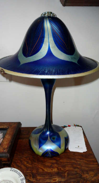 John Cook Studios - wonderful blown art glass lamp signed by john cook