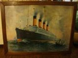 original steam ship painting on tin
