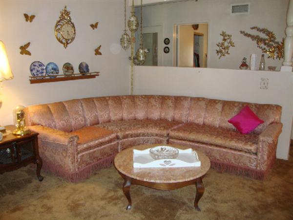 1940's brocade and fringed sectional sofa