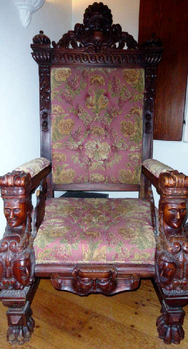 hand carved queens chair from Indonesia