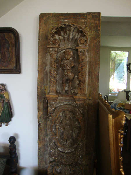 Incredible heavy carved door off Spanish church