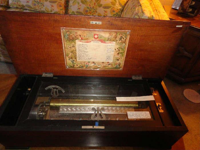 antique swiss made cylinder roll music box
