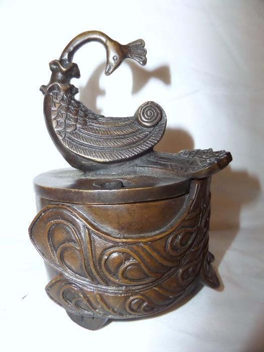 Bronze bird incense burner