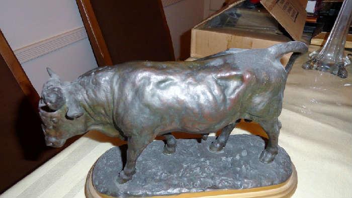 vintage bronze bull