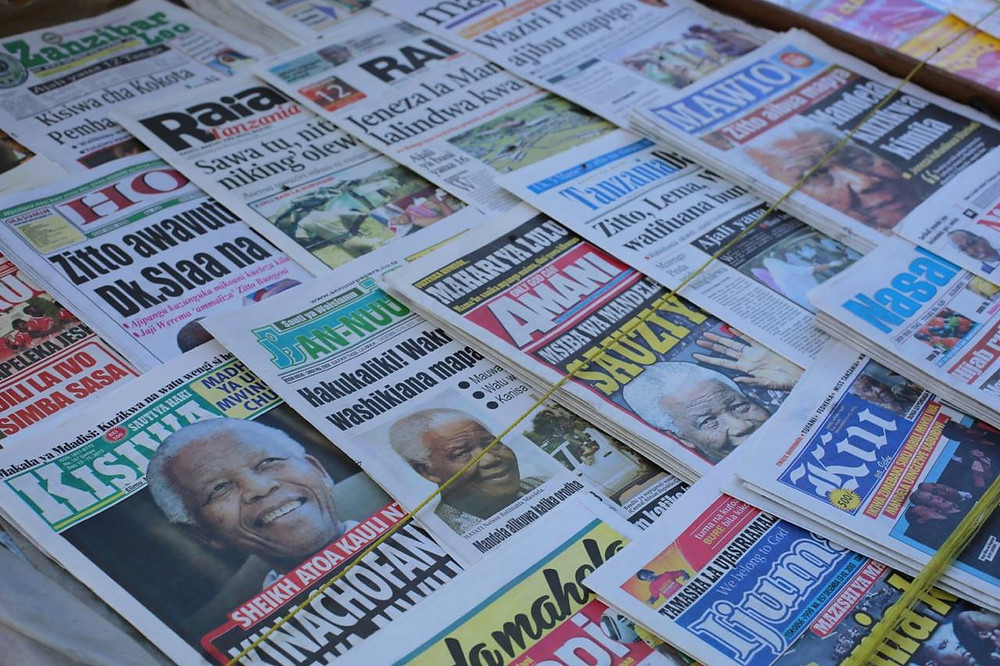Newspapers in Tanzania reflect the death of Nelson Mandela. Picture: Aletta Harrison
