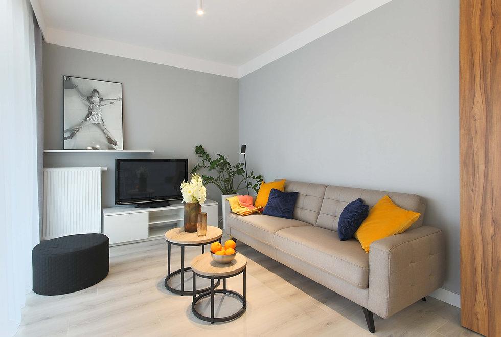 Beżowa kanapa z kolorowymi dodatkami na tle szarej ściany. Neutralna aranżacja mieszkania na wynajem.
