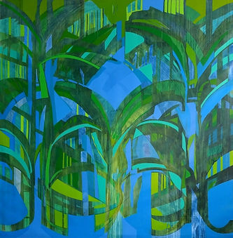Orchard, No. 4 one a of series of large canvases painted by international visual artist Jessica Langton in her studio in the south of France