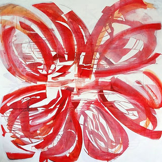 'Red Flower' abstract gestural large canvas in acrylics and inks painted by the international artist Jessica Langton in her studio in the south of France.