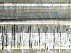 Painting and monotype, one of a series of works called Horizons by the international visual artist Jessica Langton, created in her Mediterranean studio in the south of France