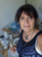 Portrait photograph of international visual artist Jessica Langton in her Mediterranean studio in the south of France