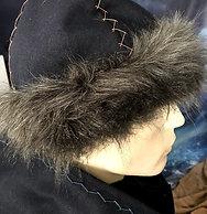 Wool hat, 6 piece crown with faux fur sideband, herringbone fancy stitch top