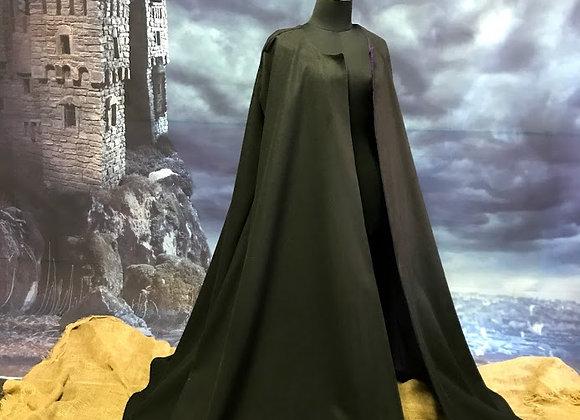 Black wool cloak.