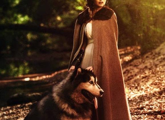Brown tweed cloak with faux fur collar