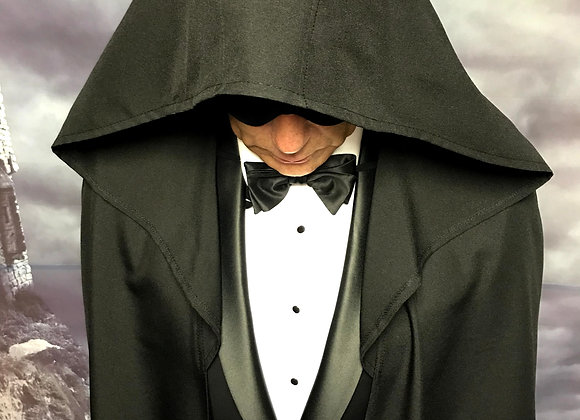 Black cloak with oversize hood.