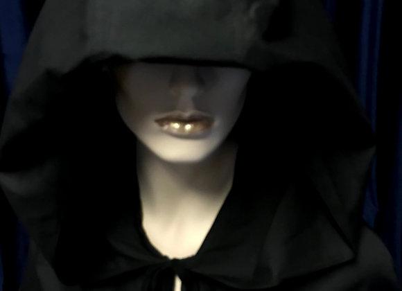 Medieval CLOAK,Oversize hood, Black, 150cm long,Goth,Halloween, #A03