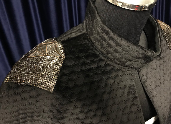 Quilted black velvet gown & capelet