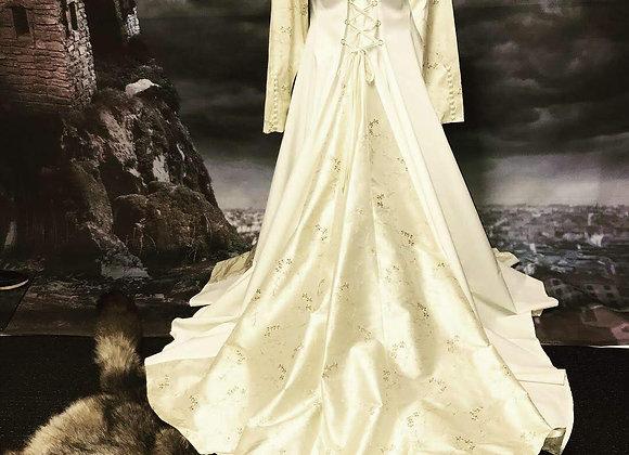 Duchess gown, cream dupion silk, and cotton