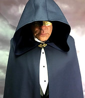 Navy wool cloak with oversize hood