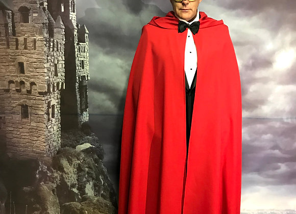 Red cloak with oversize hood.