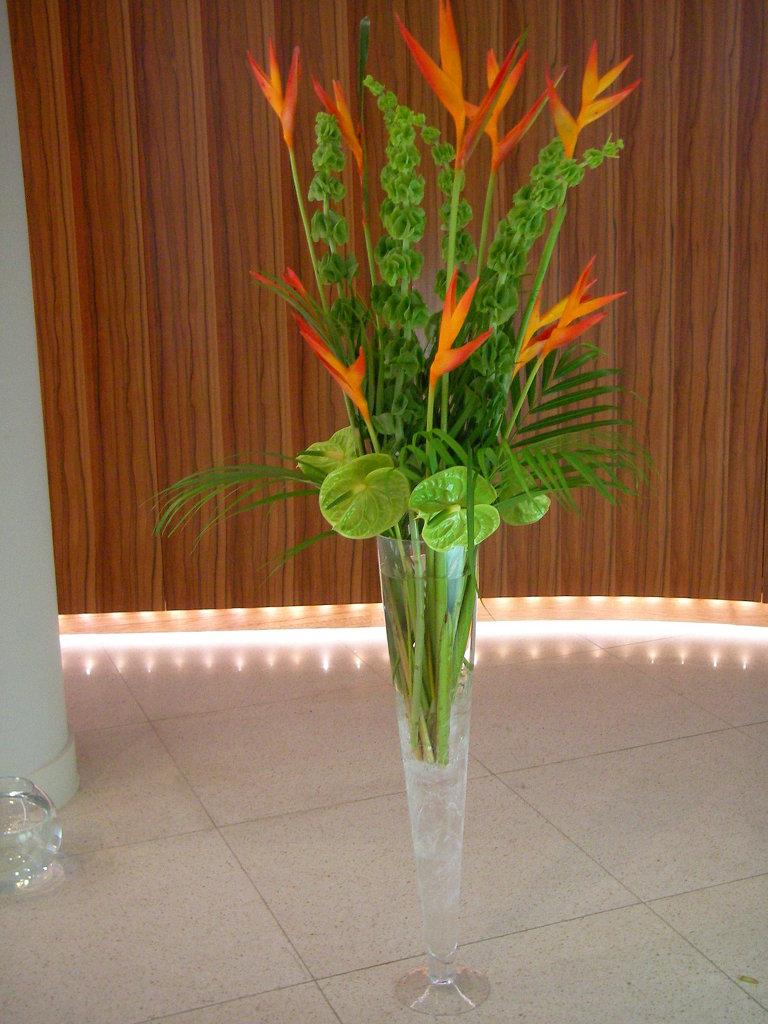 Opal design in long flute vase