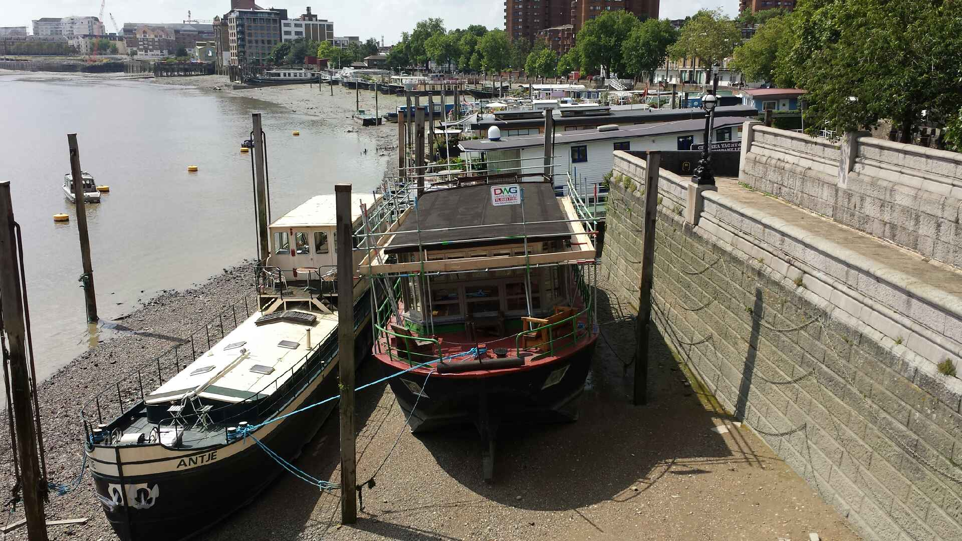 Barge Boat at Battersea Bridge