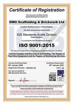 DWG Scaffolding 9001 Cert UKE451110-04