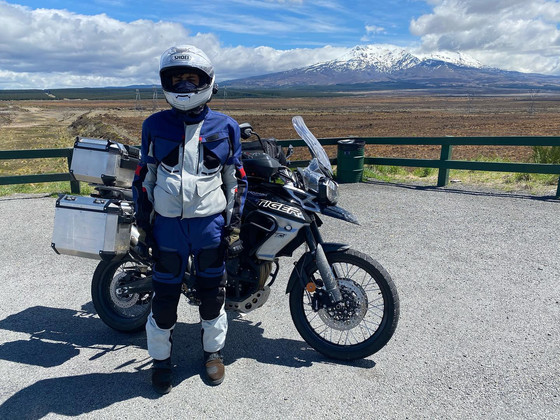 Papa and I rode all over New Zealand on his motorbike