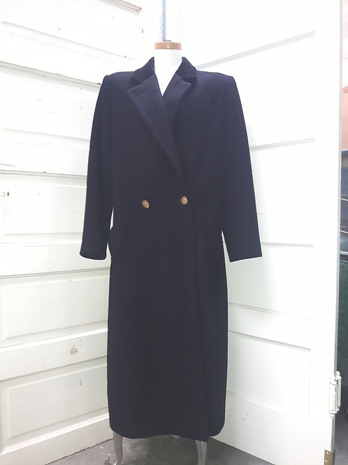 Vintage Bill Blass Signature Black Wool Double Breasted Women's Maxi Coat