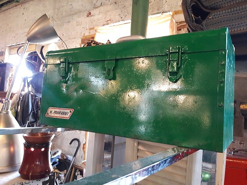 Vintage Large Metal Green toolbox